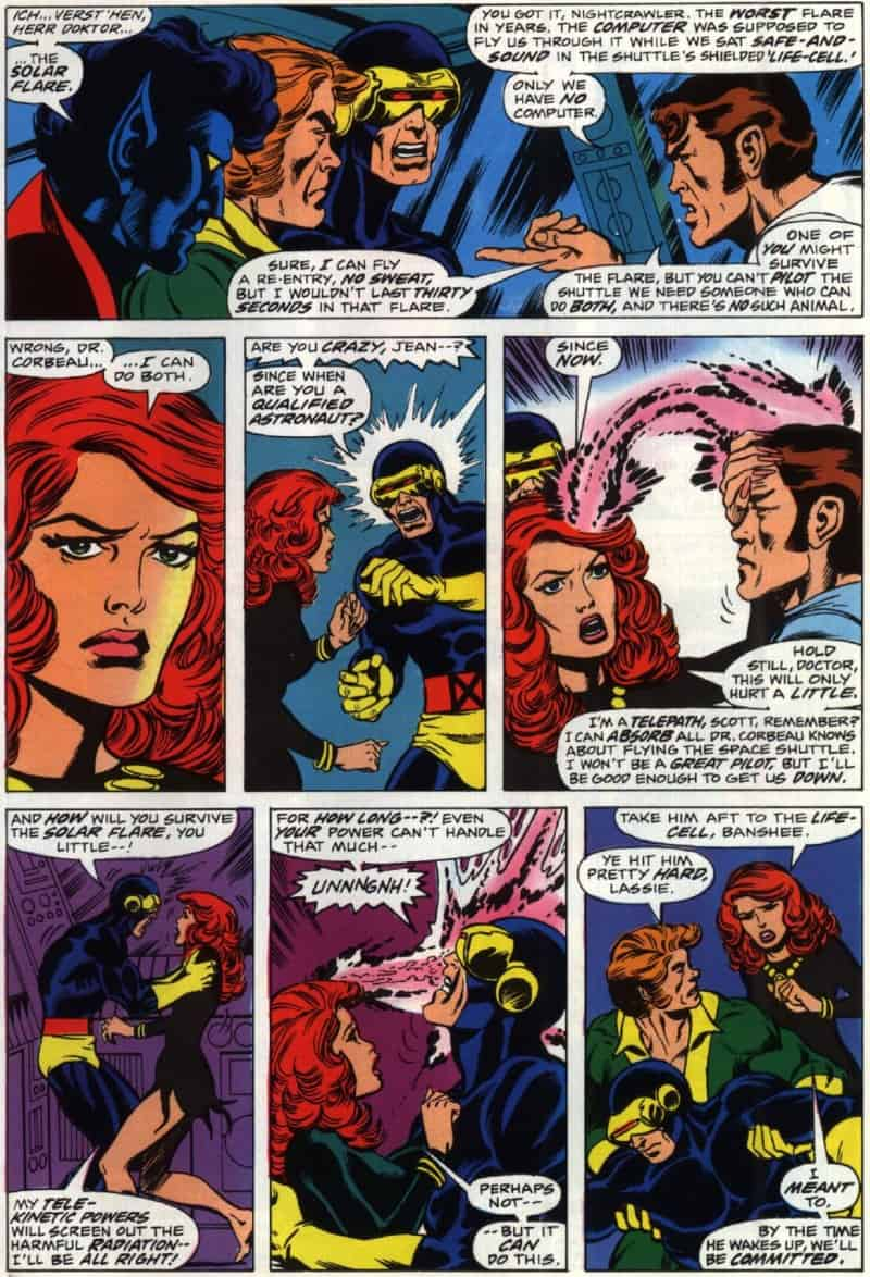 Jean Grey makes a decision that will later turn her into Phoenix and then Dark Phoenix in Uncanny X-Men #100.