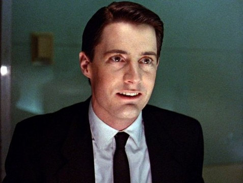 """Kyle MacLachlan as Agent Cooper in Season 1 of Twin Peaks. In the morgue, he tells Sheriff Truman, """"Sheriff, we've got a lot to talk about."""""""