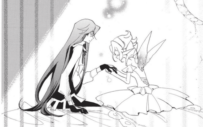 Sti heals an injury on Nebel's hand, but sternly tells him she's not an object in THE WIZARD AND HIS FAIRY.