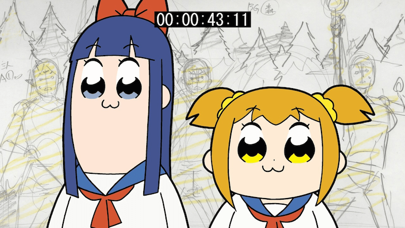 Pipimi and Popuko of POP TEAM EPIC standing beneath a timer and surrounded by a sketch background.