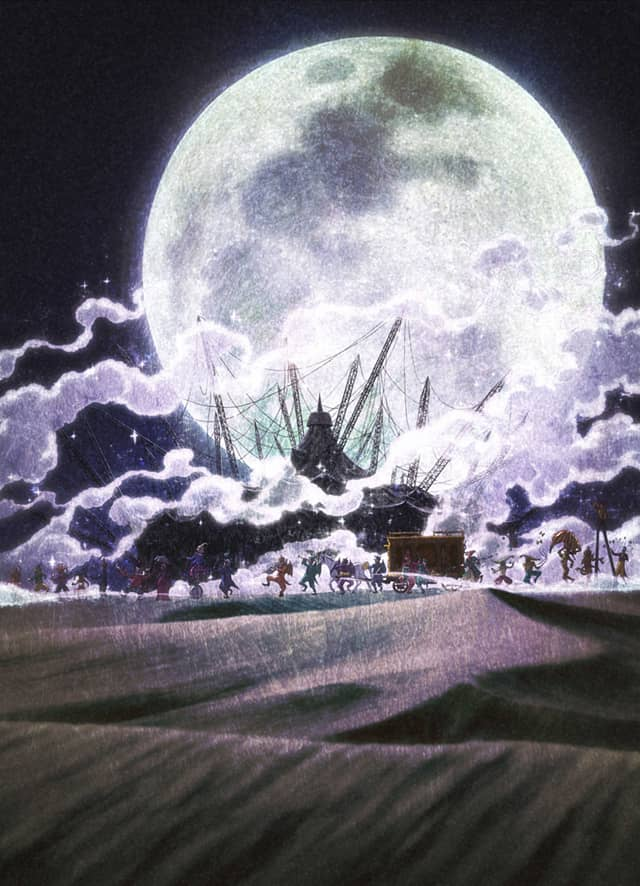 Cast of KARAKURI CIRCUS traveling through the desert.