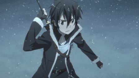 Kirito getting ready to battle in the holiday episode of SWORD ART ONLINE.