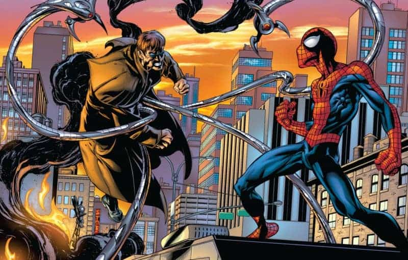 Sinister Six Marvel: Doc Ock fights Spidey on a rooftop